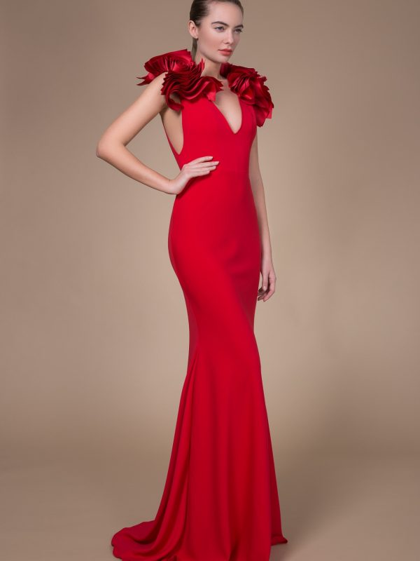 Long red mermaid gown