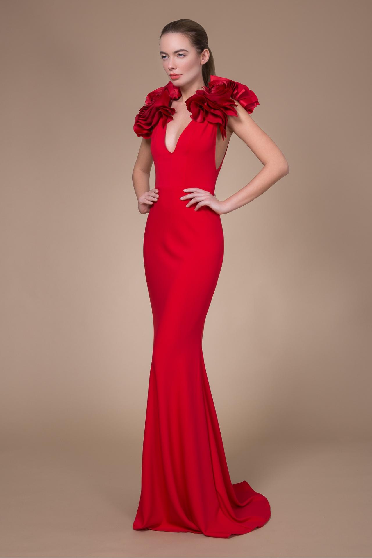 Long red mermaid gown