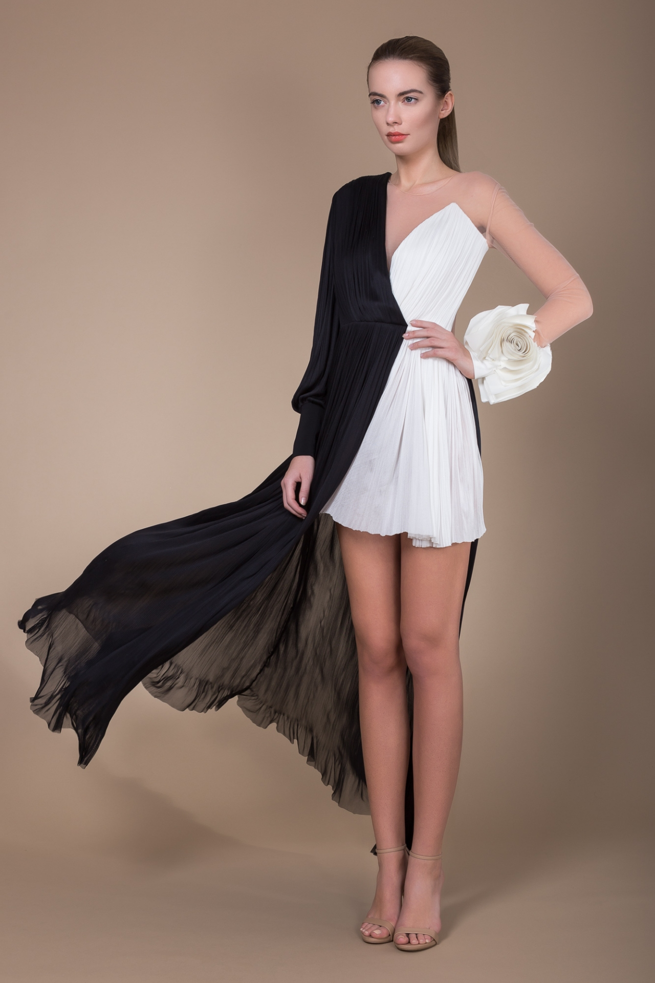 Black and white silk gown