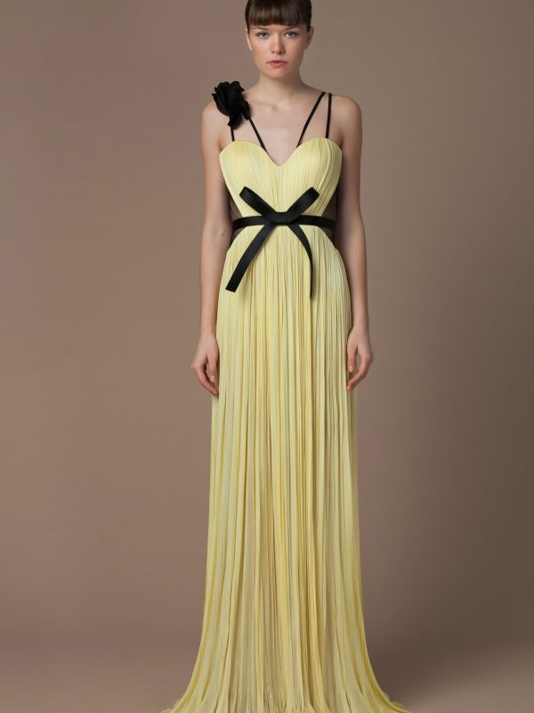 Silk corset evening gown