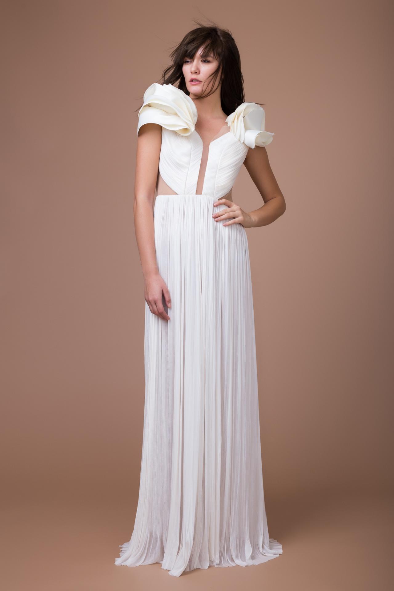 Ruffles silk bridal gown