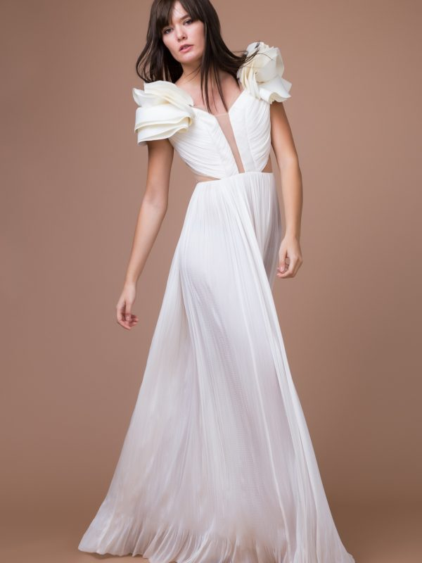 Ruffled silk bridal gown