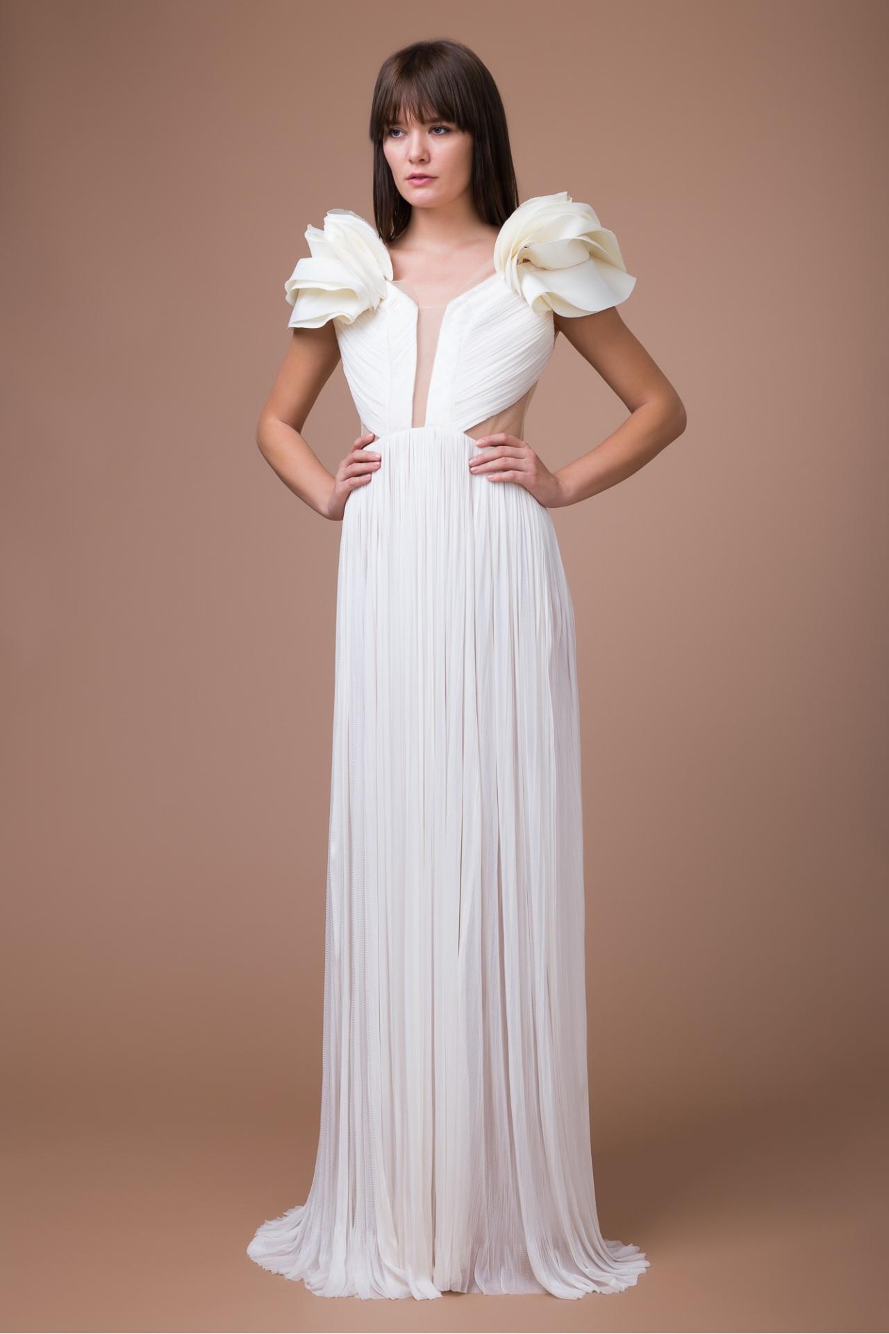 Ruffled silk bridal gown