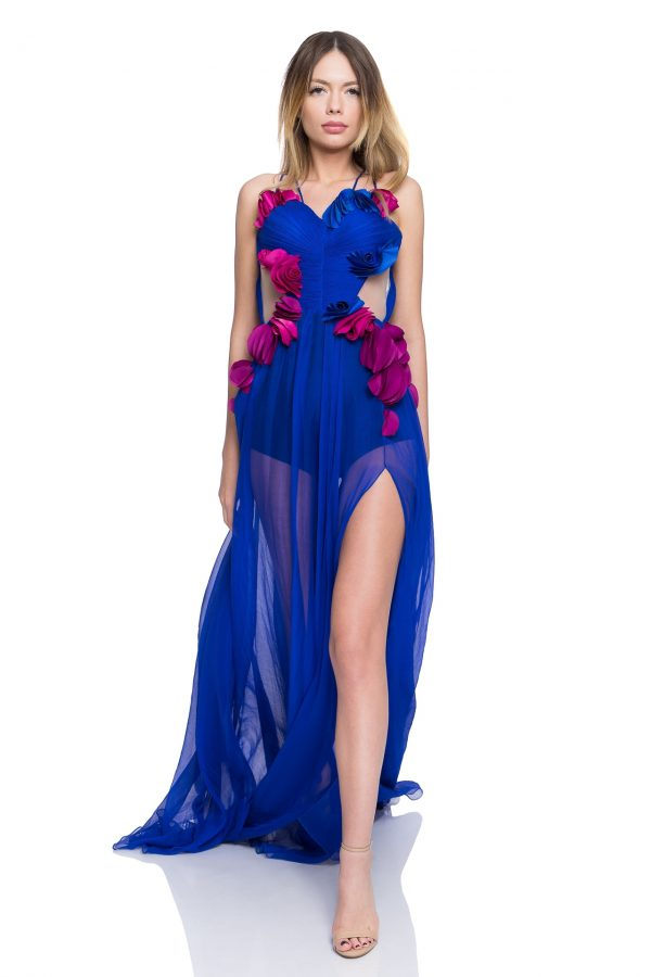 Blue corset prom dress