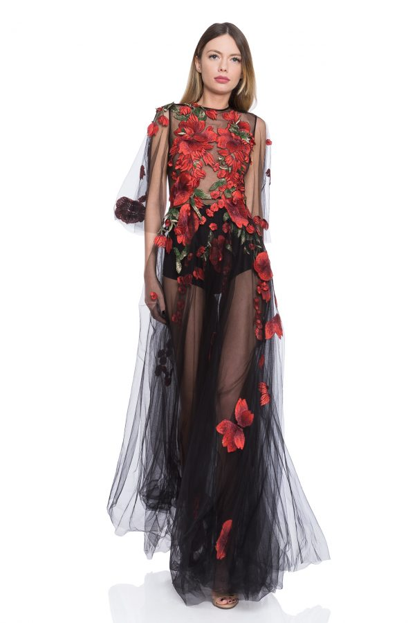 Flowers embroidery tulle dress