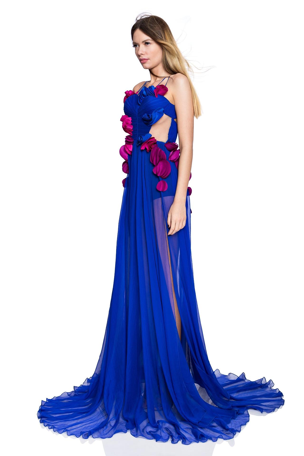 Blue corset prom dress