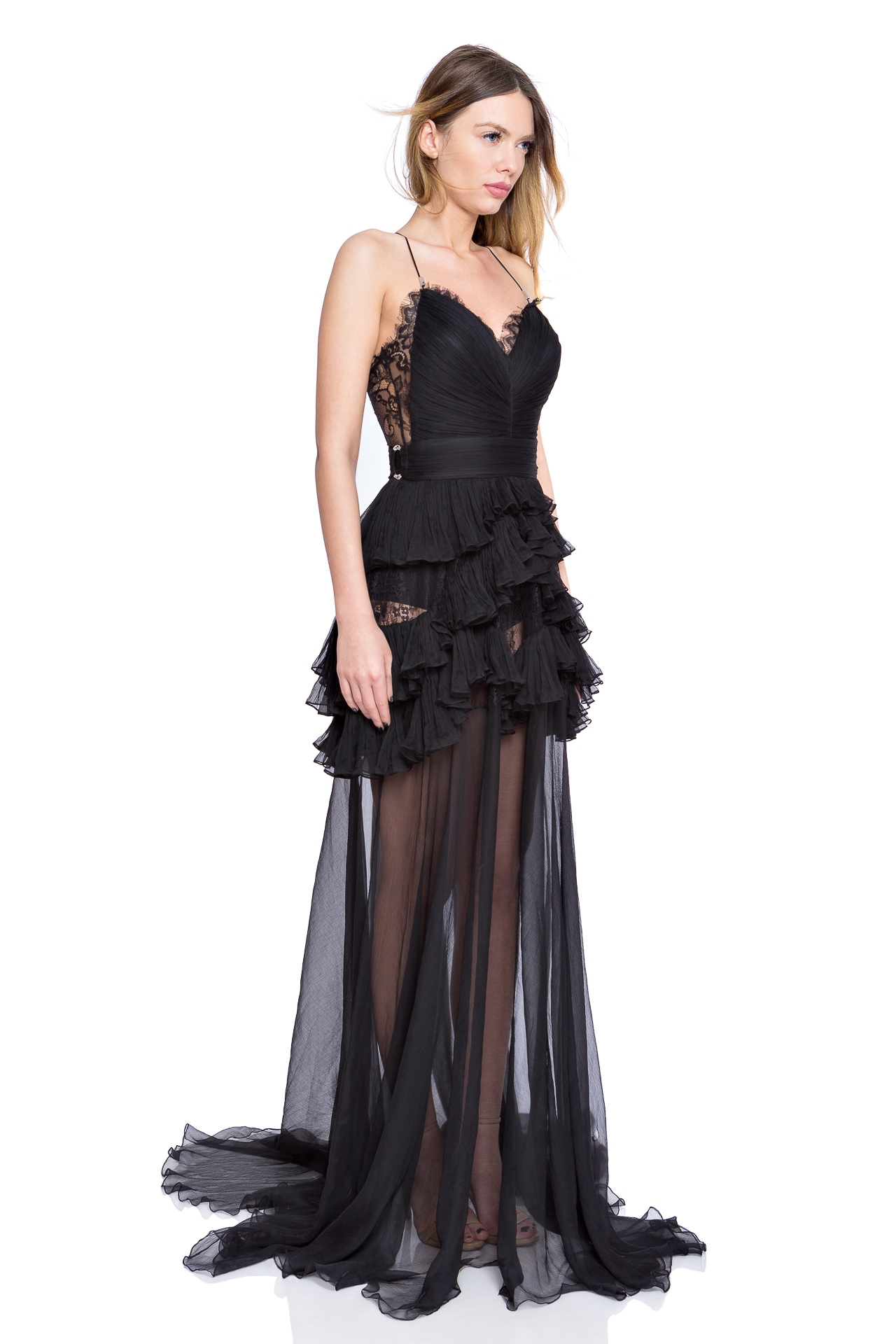Black silk lace gown