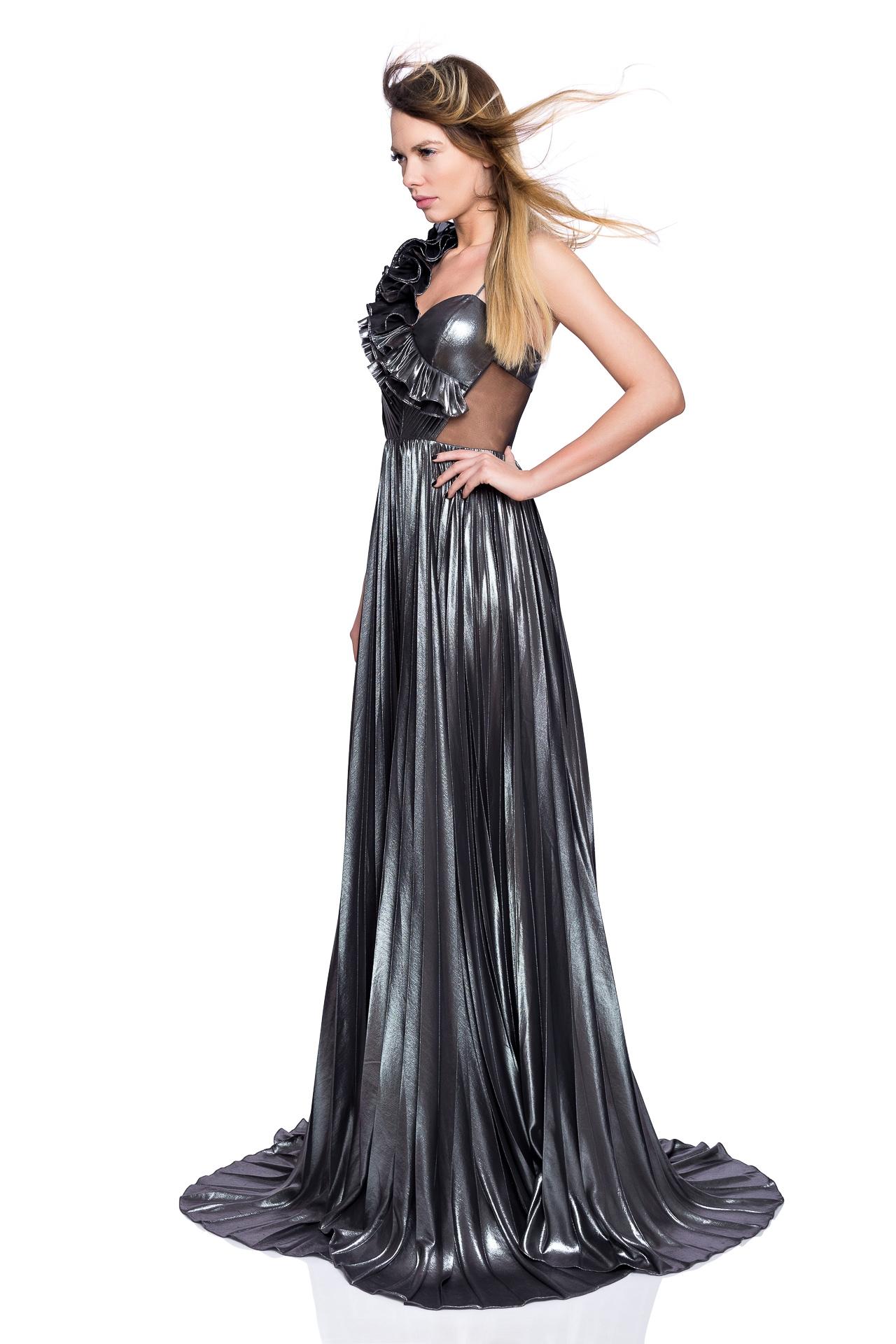 Long ruffled metallic gown