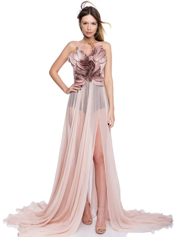 Ruffled flowers prom gown