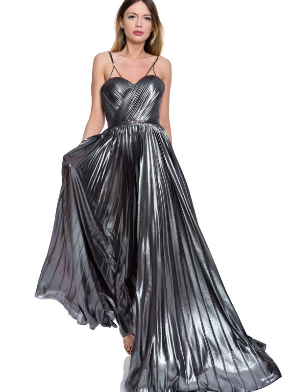 Metallic corset evening gown