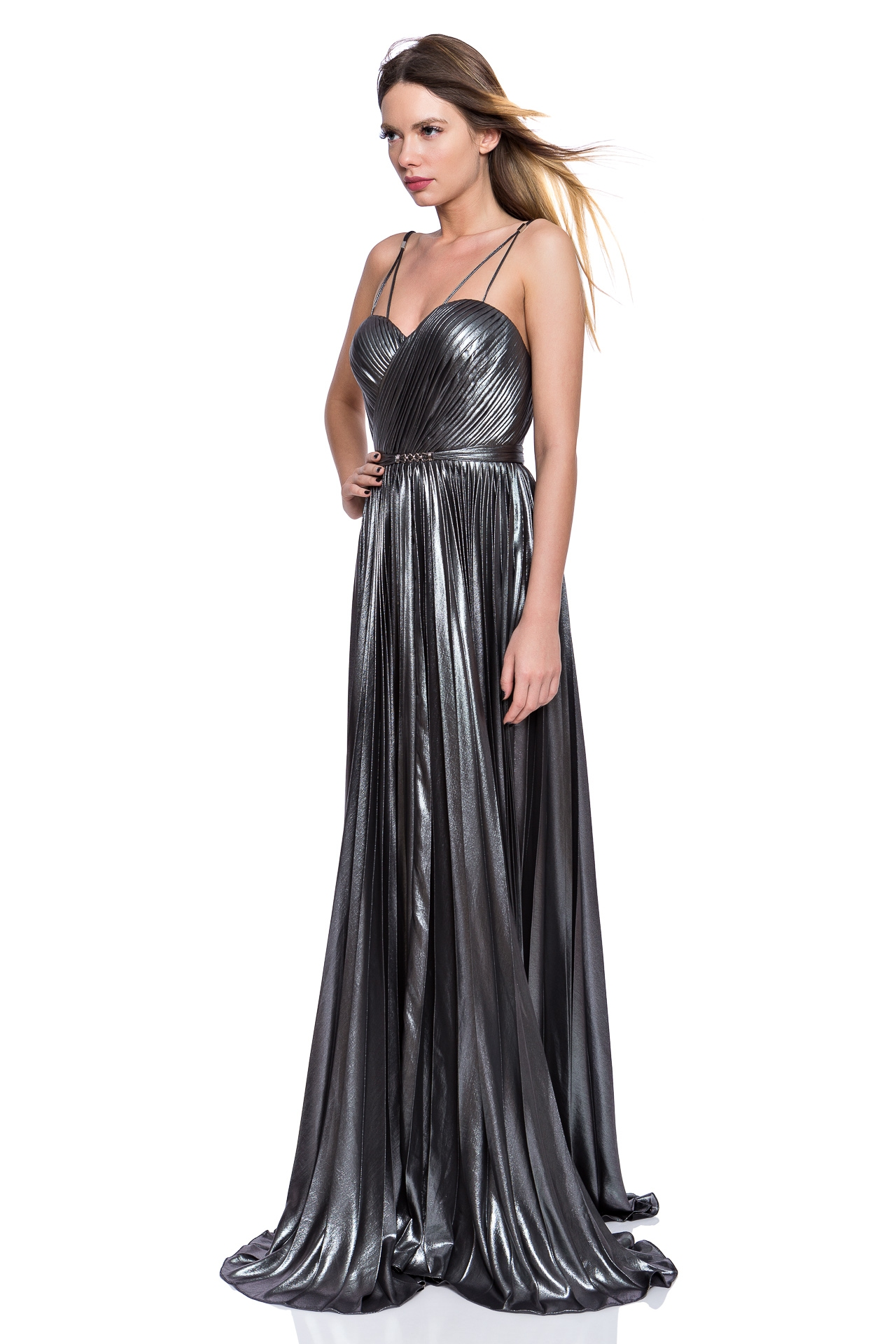 Metallic corset evening gown