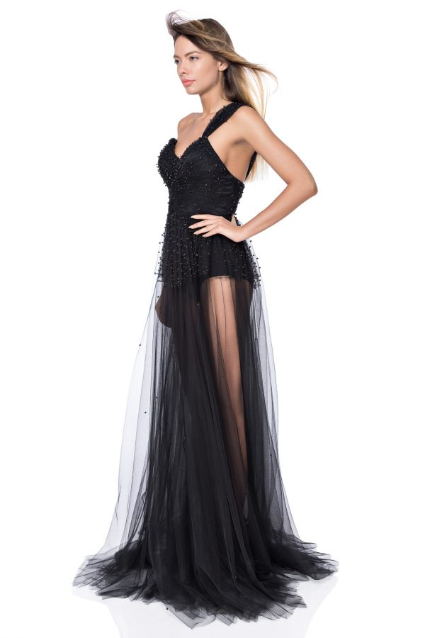 Black pearled silk gown