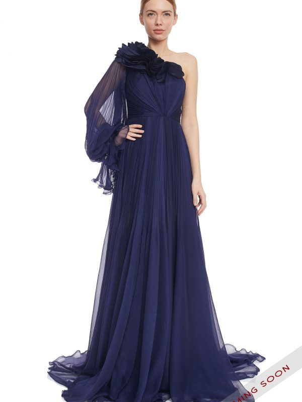 Navy silk evening gown