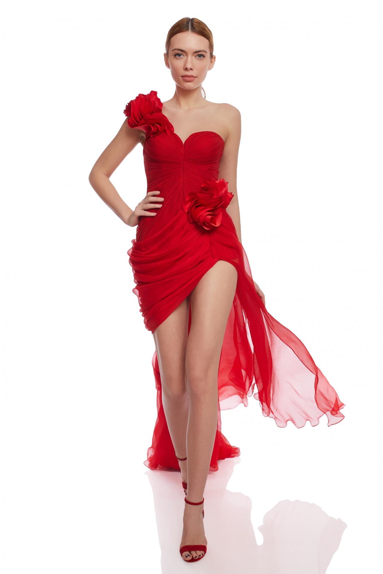 Asymmetrical pleated evening dress