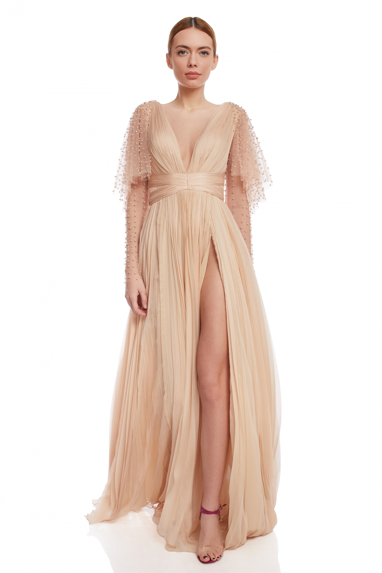 Silk gown with pearled sleeves