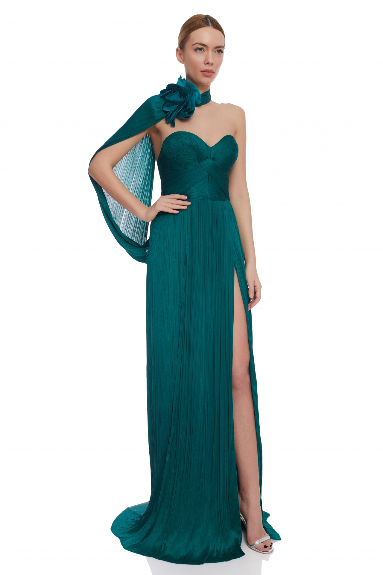 Caped pleated evening dress