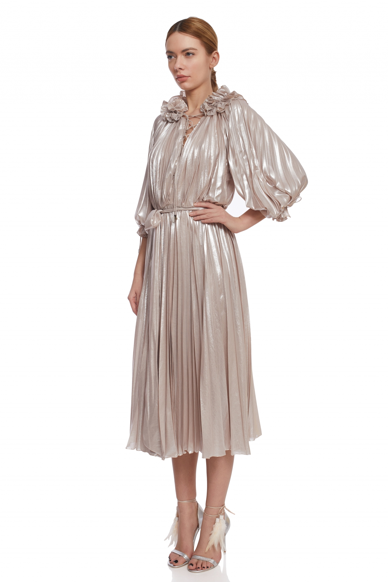 Iridescent pleated cocktail dress