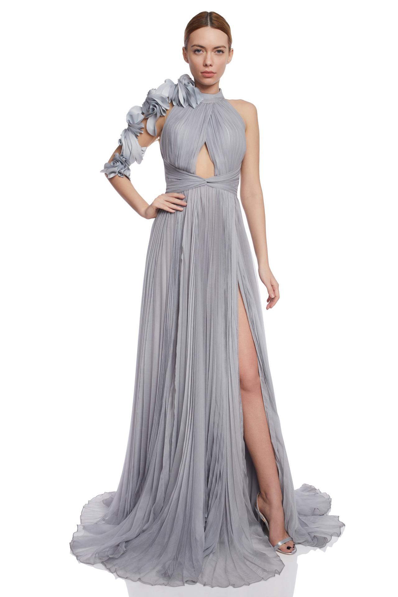 Ruffled flowers silk dress