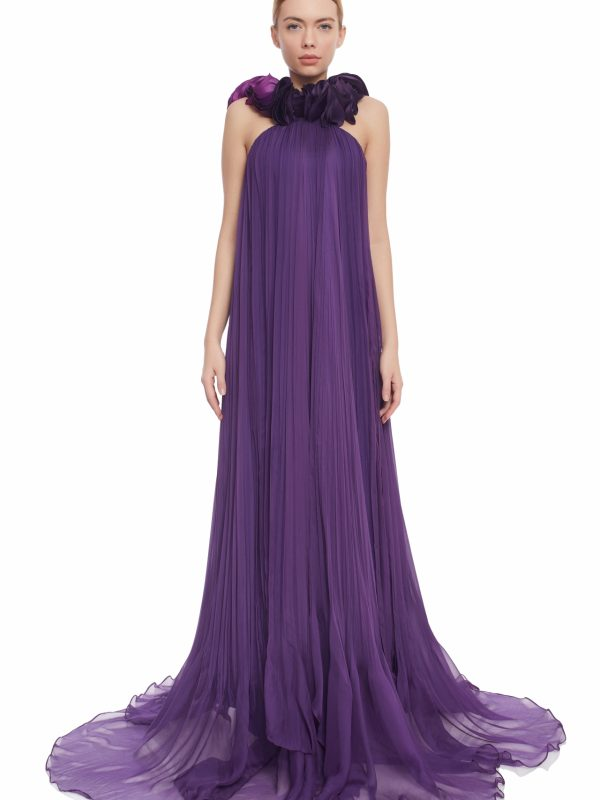 Purple silk evening gown