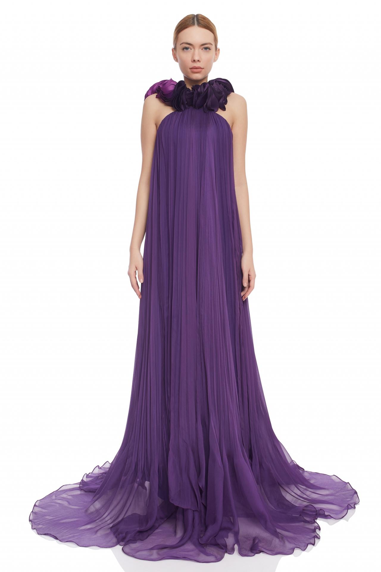 Purple silk evening gown