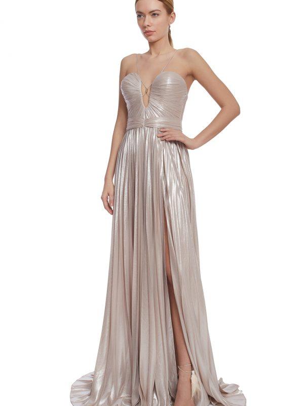Iridescent corset evening gown