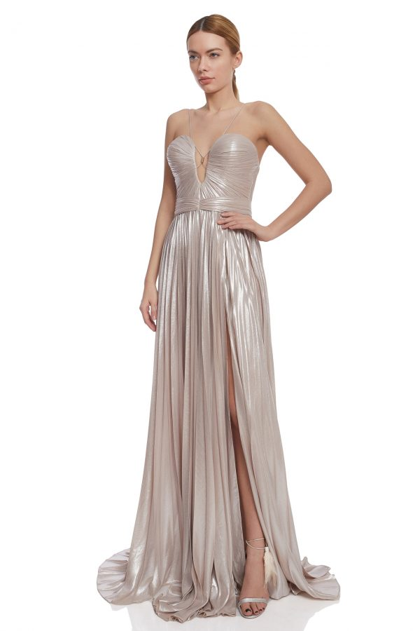 Iridescent corset evening gown