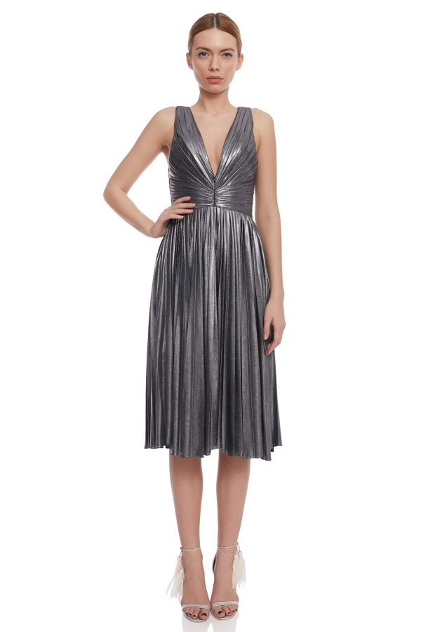 Silver pleated cocktail dress