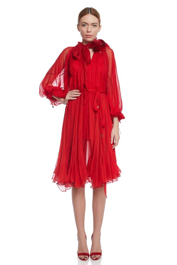 Pleated silk cocktail dress