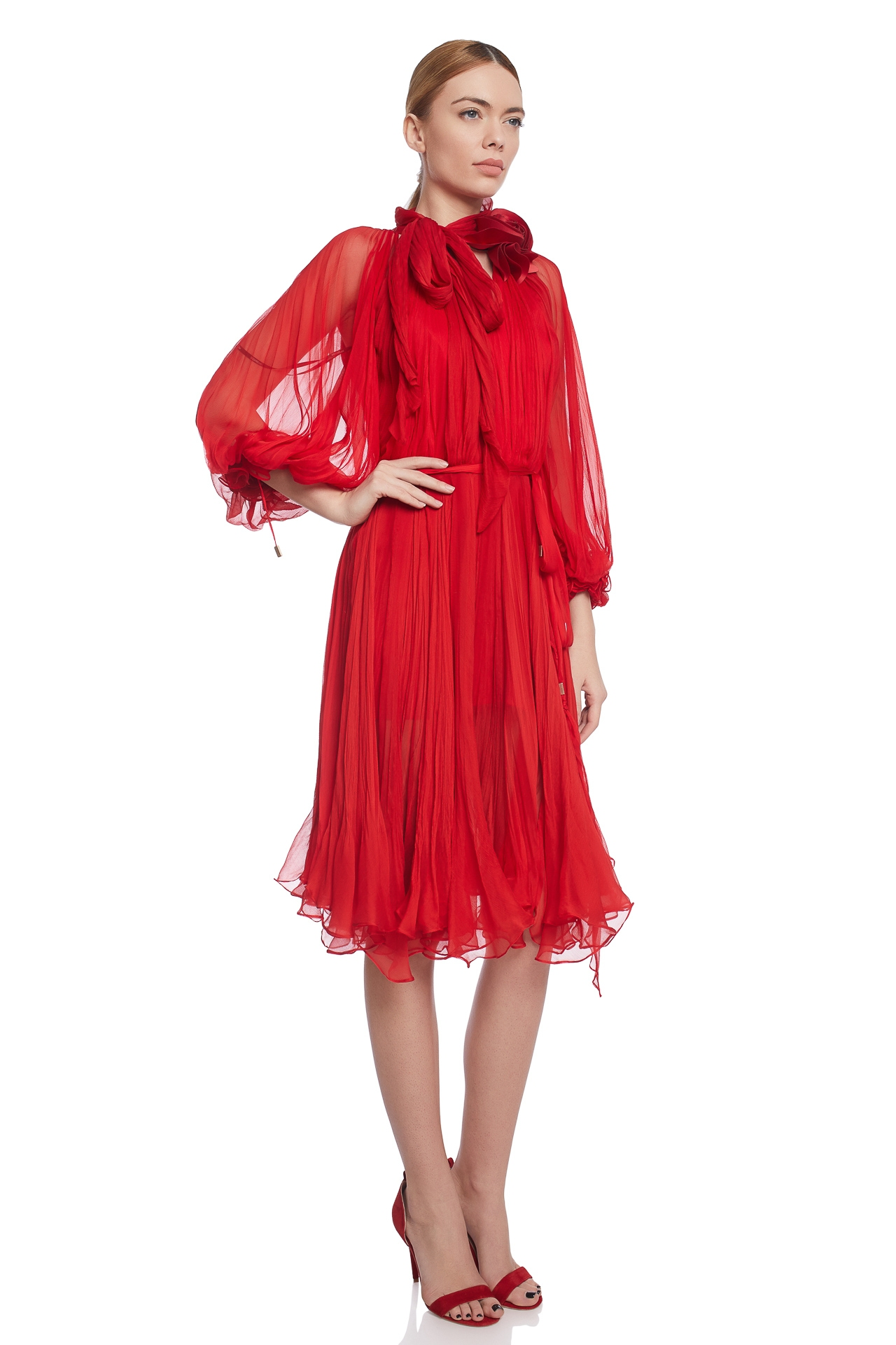 Pleated silk cocktail dress