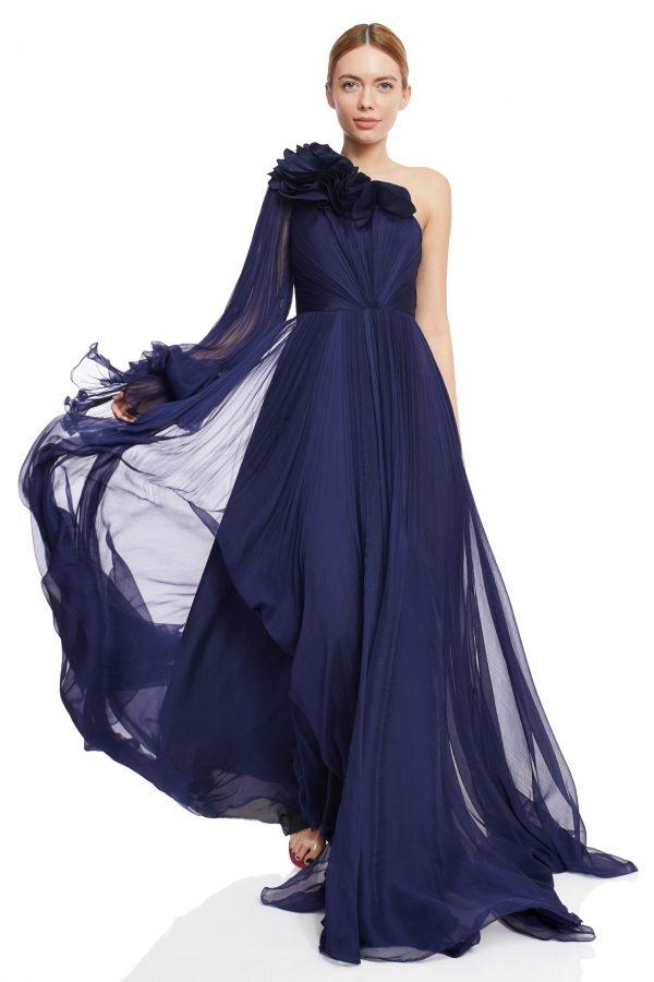 Navy silk evening gown