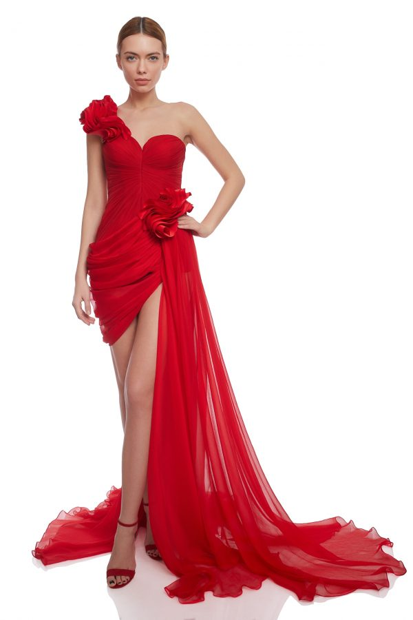 Asymmetrical pleated evening dress