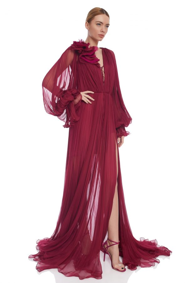 Bohemian silk evening gown