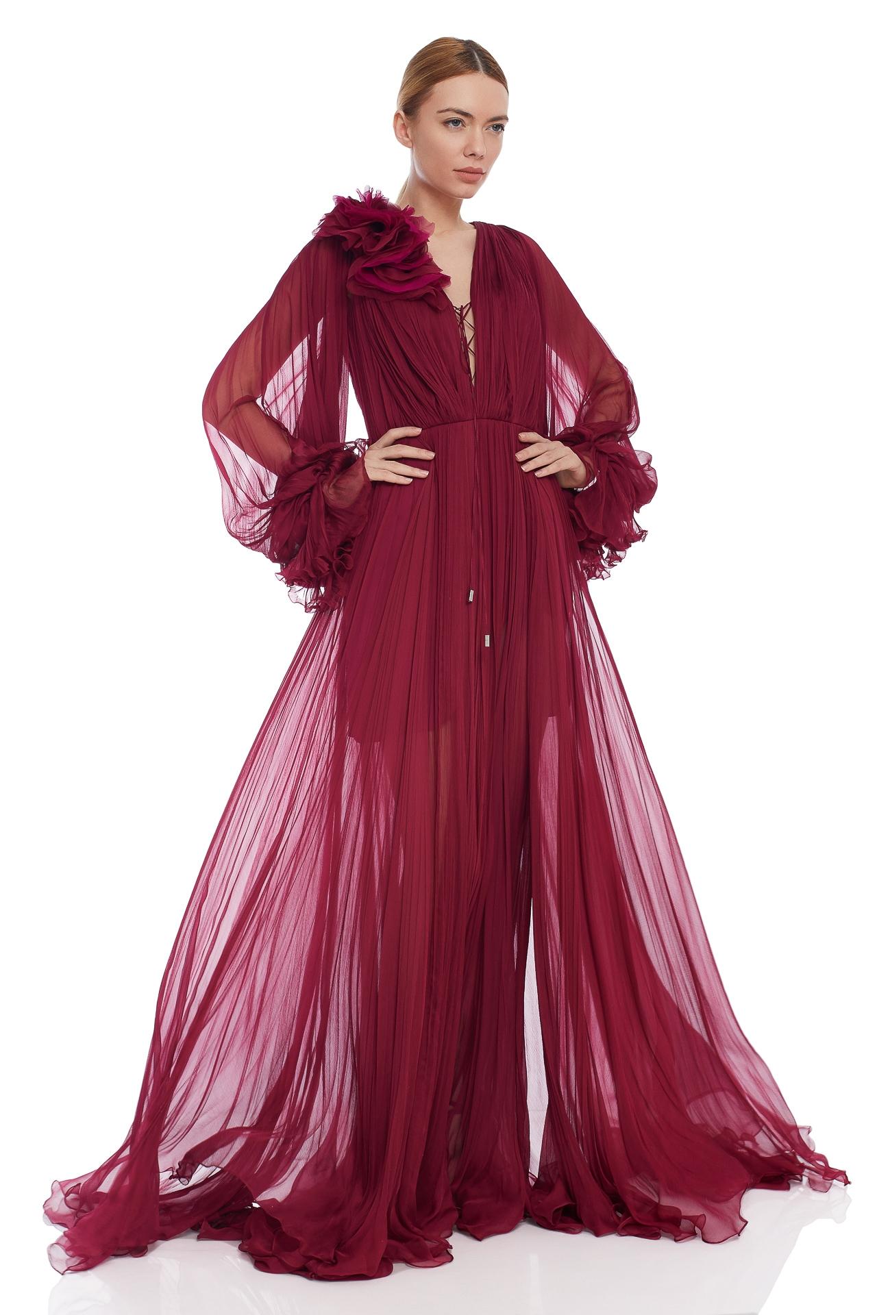 Bohemian silk evening gown