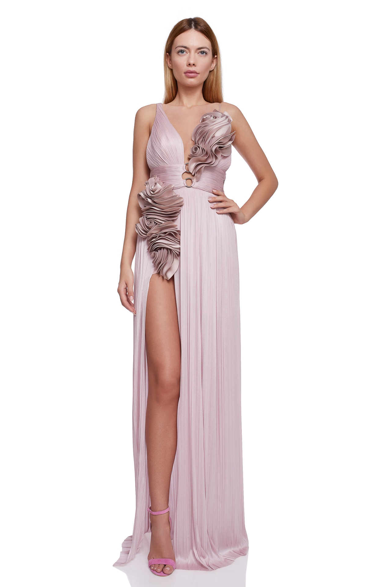 Ruffled flowers silk gown