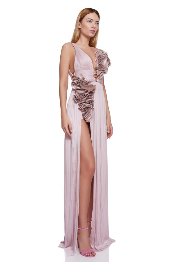 Ruffled flowers silk gown