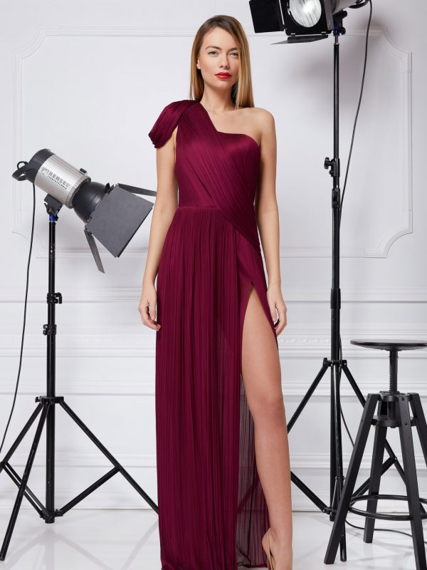 Hand pleated silk gown