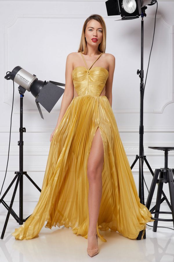 Golden silk evening gown
