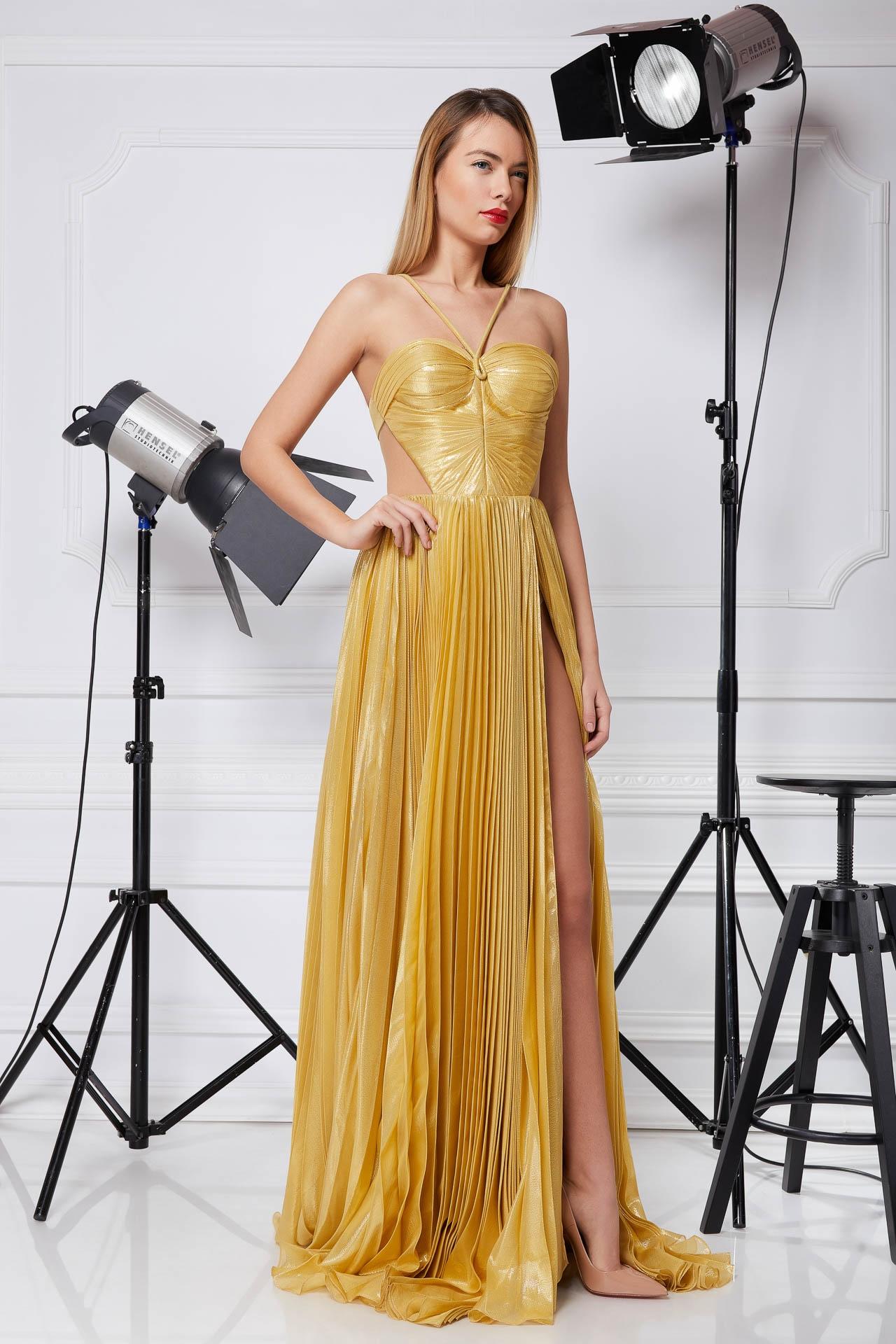 Golden silk evening gown