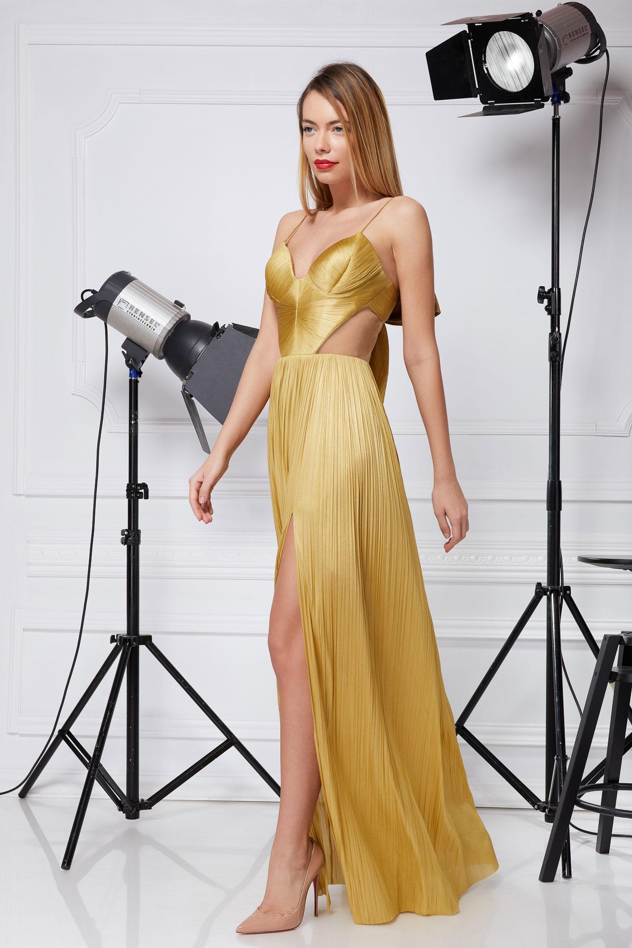 Golden silk corset gown