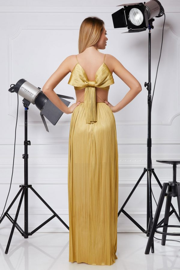 Golden silk corset gown