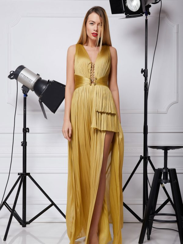 Long golden silk gown
