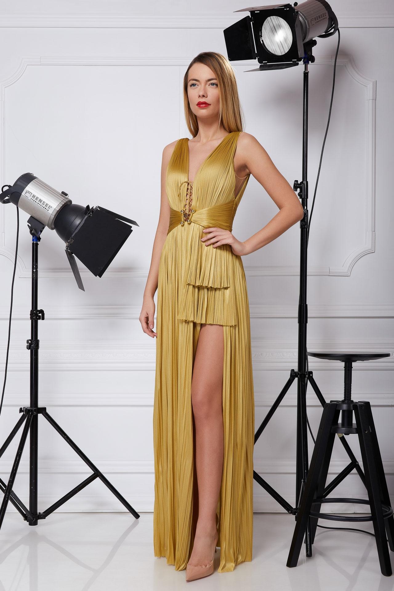 Long golden silk gown