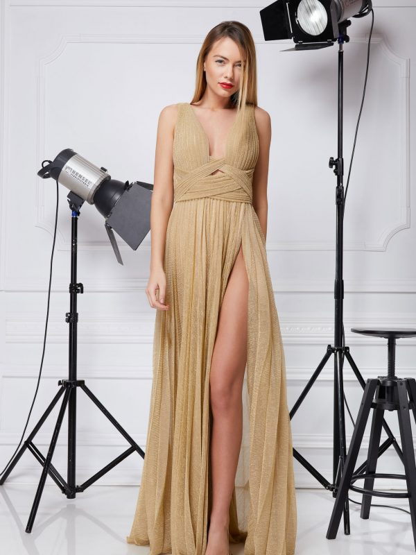 Golden Lurex evening gown