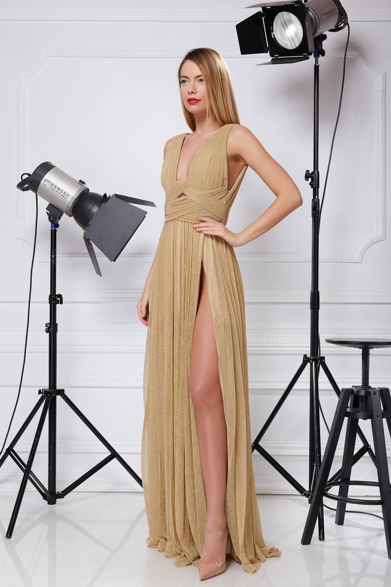 Golden Lurex evening gown