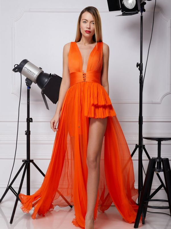 Orange silk prom dress