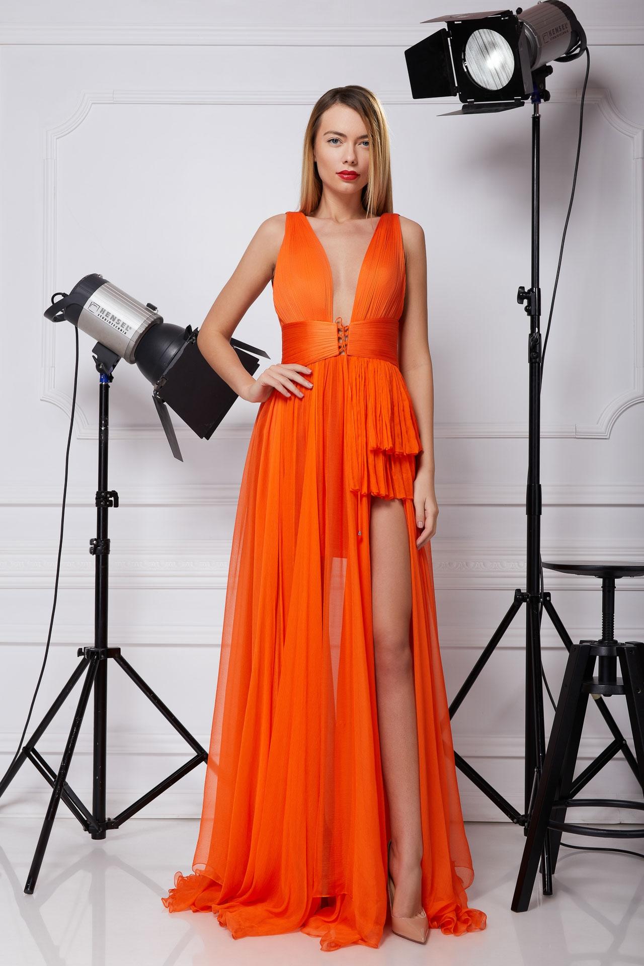 Orange silk prom dress