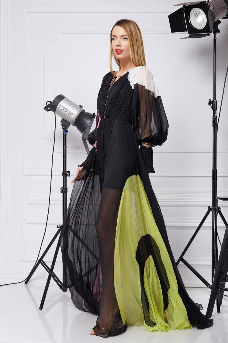 Multicolored silk bohemian gown