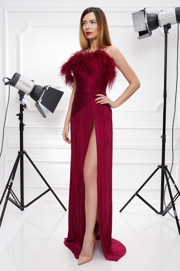 Silk gown with feathers