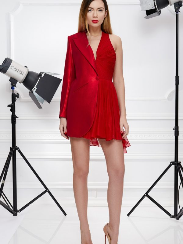 Red cocktail blazer dress