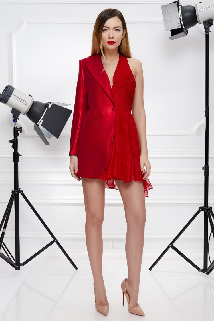 Red cocktail blazer dress